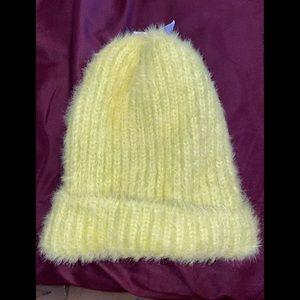 Neon Yellow Furry Cap Beanie